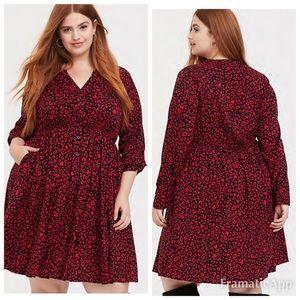 TORRID Red Leopard Shirt Dress SZ 2